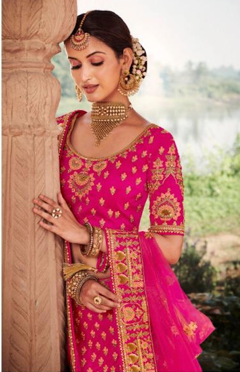 Magenta Bridal Lehenga in Silk