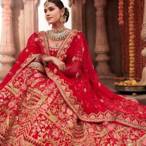 Red  Silk Wedding Lehenga